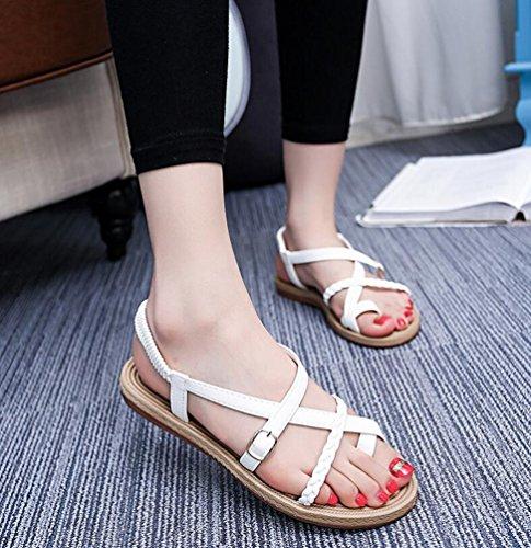 YOUJIA Casual Sandalias para Mujeres, Clip Toe Bohemia Sandalias Roman Zapatos planos de playa Hebilla Blanco