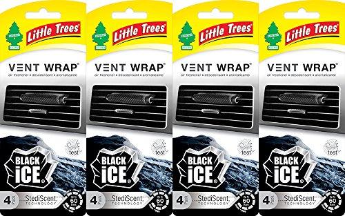 Little Trees Vent Wrap Air Freshener, Black Ice, 4 Packs of 4