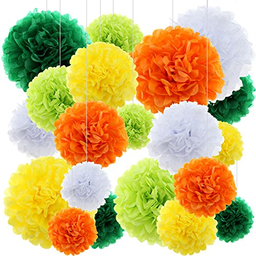 Tissue Paper Flowers Pom Poms, 20 ct Ornaments Flat Paper