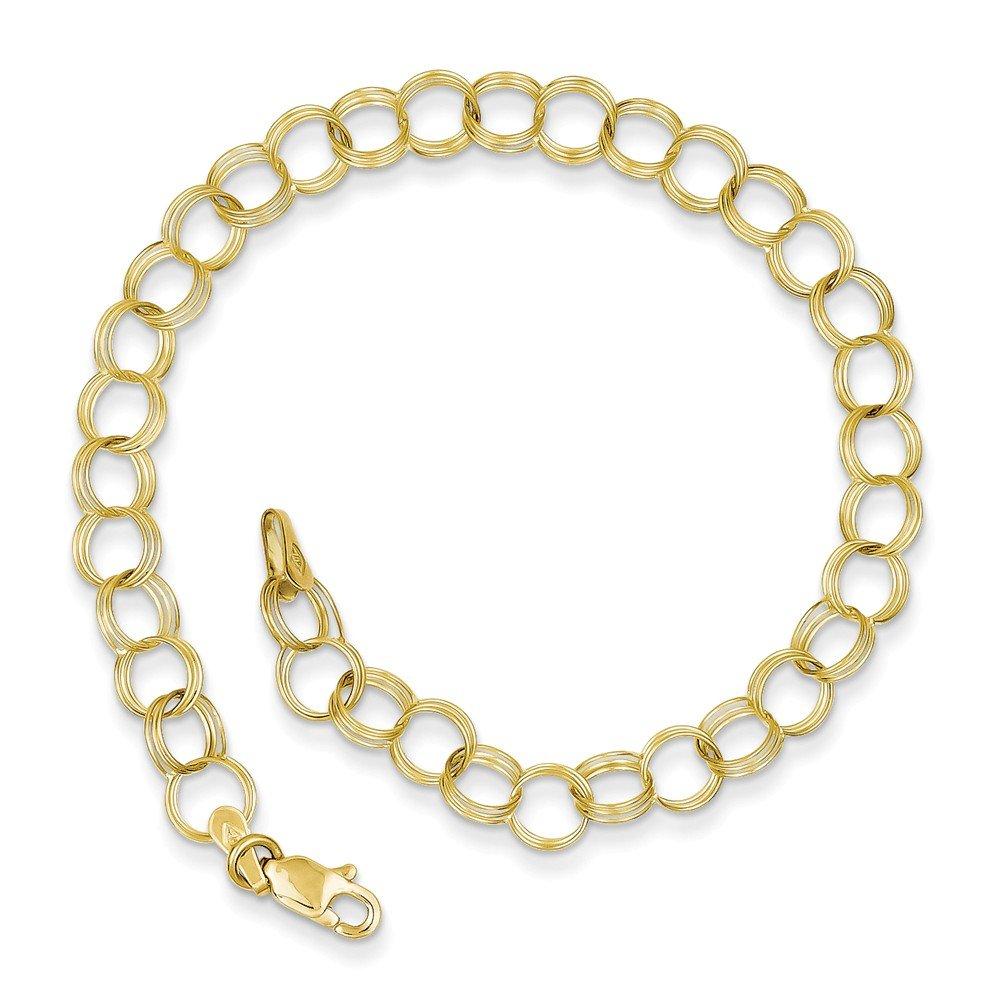 Jewelry Best Seller 10k Triple Link Charm Bracelet