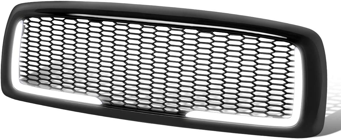 Honeycomb Mesh Glossy Front Bumper Hood Grille Grill+LED DRL Replacement for Dodge Ram 1500 2500 3500 02-05