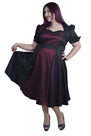 Amazon Plus Size Vintage 60s Queen Of Hearts Two Tone Black