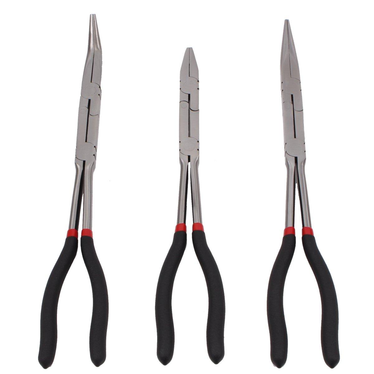 CCLIFE 3 pcs double joint pinces aiguille nez pinces articul/ées extra long