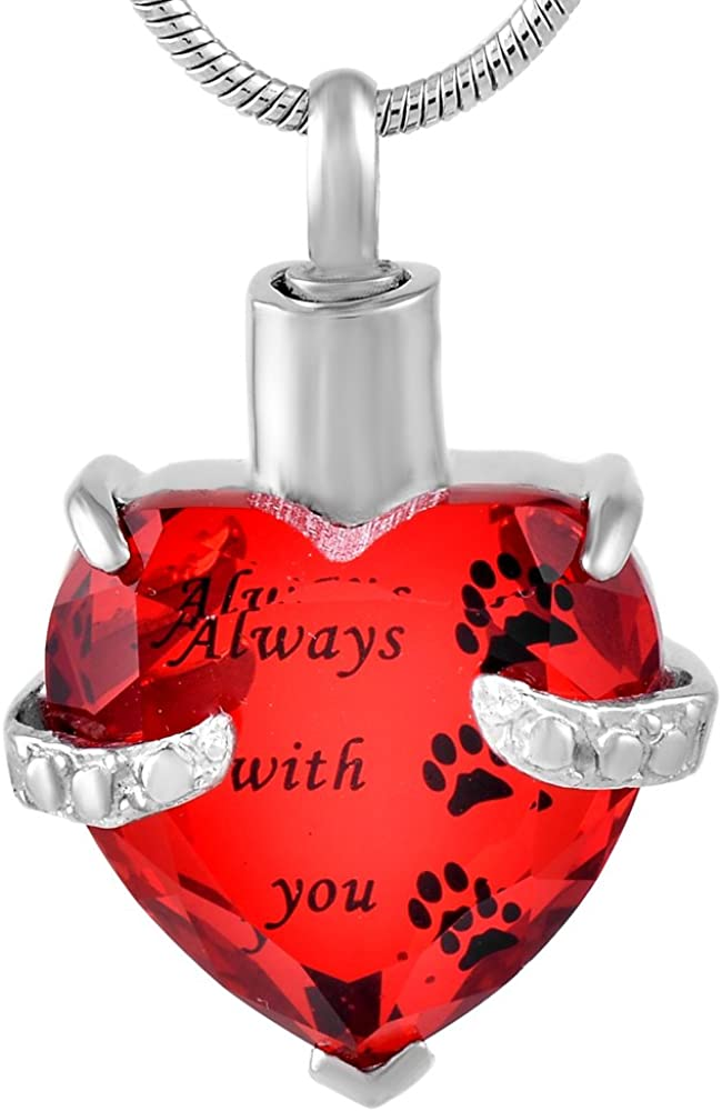 Graceful Memorial Glass Pendant Necklace for Ashes Cremation Jewelry A-Red-Always Paw