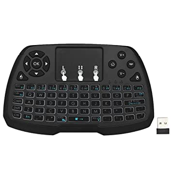 Docooler Retroiluminado 2.4GHz Teclado Inalámbrico Touchpad con Ratón Control Remoto de Mano 4 Colores de Luz de Fondo para Android TV BOX Smart TV PC ...