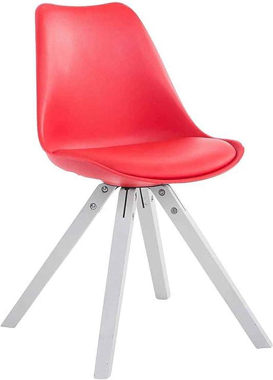 CLP Retro Stuhl Toulouse Square Mit Kunstlederbezug | Kunstoff Lehnstuhl Mit Holzgestell, Farbe:rot, Gestell Farbe:Weiß