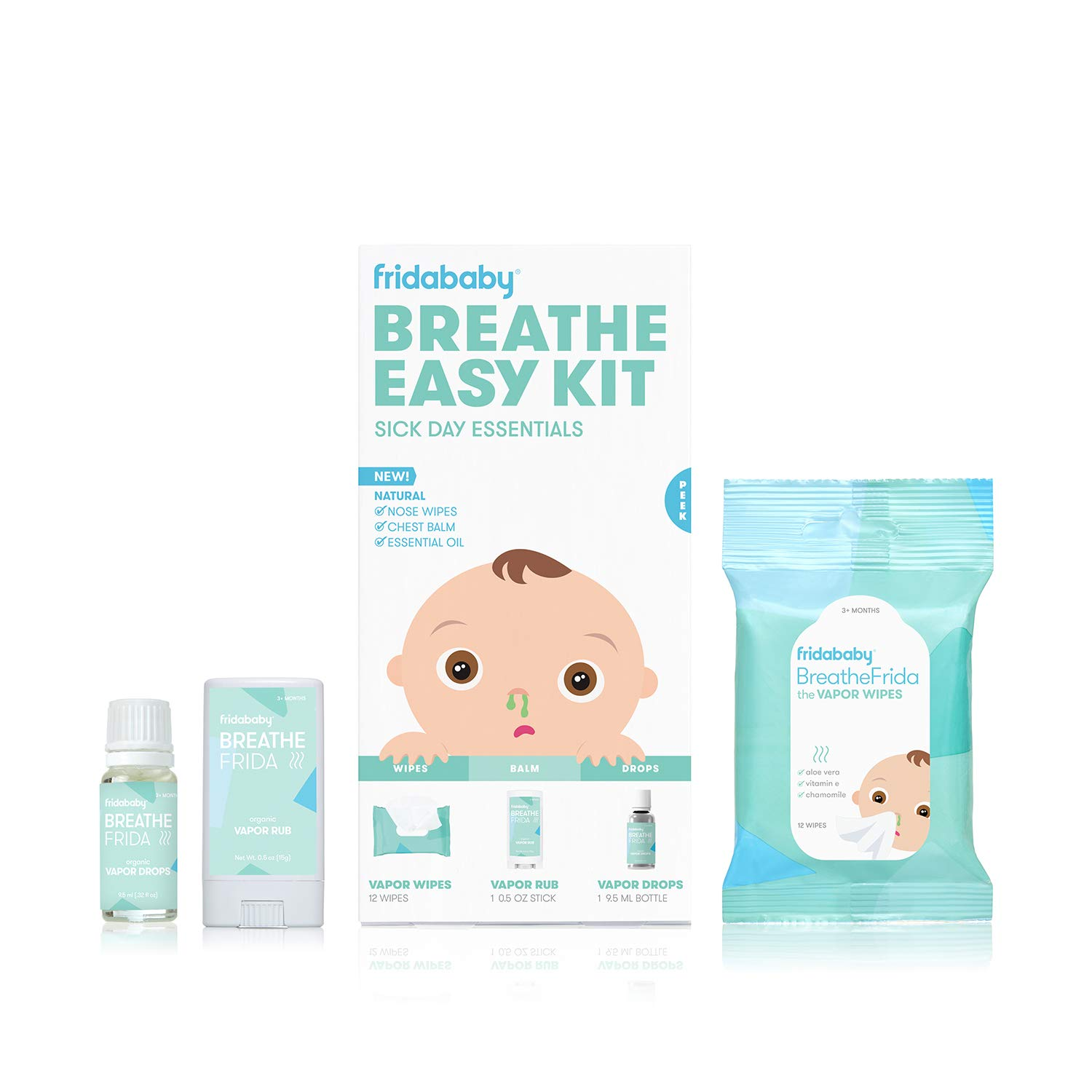 Baby and Toddler Breathe Easy Kit Sick Day Essentials by Fridababy- A Must-Have Set Includes Natural Nose and Chest Wipes, Organic No-Mess Chest Balm, and Organic Essential Oil for Bath or Diffuser