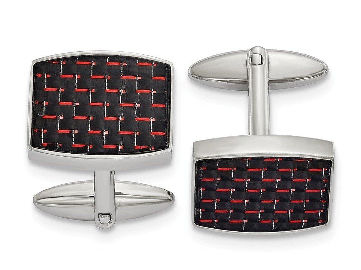 ステンレススチールブラックレッドカーボンファイバーInlay Rectangle Cuff Links、22.52 mmx19.27 mm   B07FXQRDH3