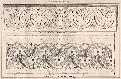 Panel from antique cabinet; carved oak door panel. Decorative - 1872 - old print - antique print - vintage print - Decorative art prints - Carved Panel Door