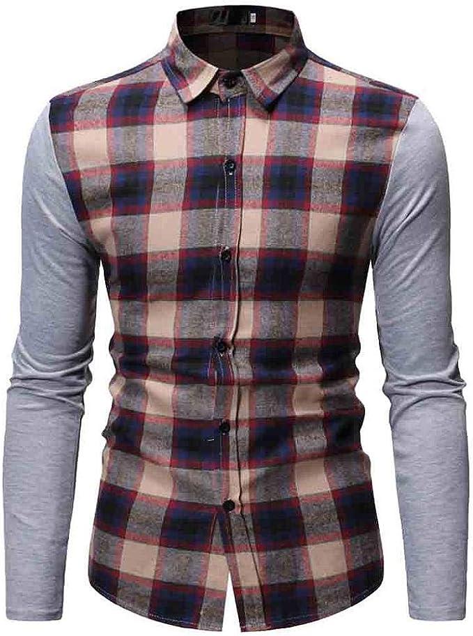 Mens Long Sleeve Button Down Plaid Work Casual Shirt