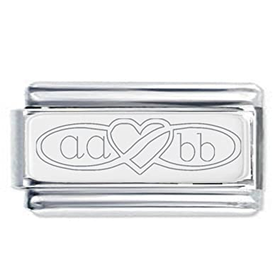 Custom made initials infinity heart Engraved Charm with 18K Gold Plate - Fits Nomination Classic gbeTwE