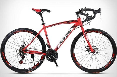 FXMJ Bicicletas de Carretera para Hombres y Mujeres, Bicicletas de 26 Pulgadas de 24/26 velocidades, Solo para Adultos, Carreras de Bicicletas de Carretera, Doble Freno de Disco, Rojo: Amazon.es: Deportes y aire