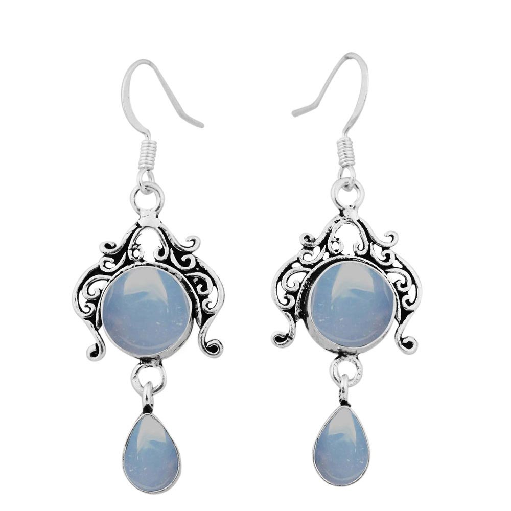 Genuine Chalcedony 925 Sterling Silver Overlay Handmade Fashion Earrings Jewelry