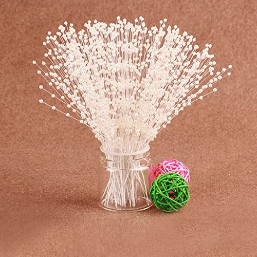 100 Stems Faux Pearl Bead Spray Wedding Bouquet Cakes Crafts Beige