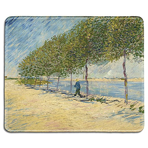 (dealzEpic - Art Mousepad - Natural Rubber Mouse Pad with Famous Fine Art Painting of Along The Seine by Vincent Van Gogh - Stitched Edges - 9.5x7.9 inches)