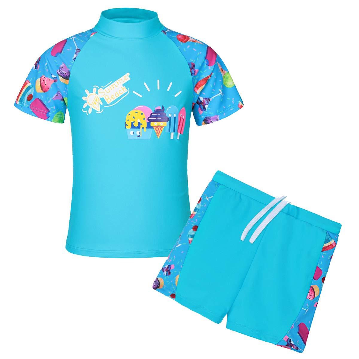 TFJH E Girls Swimsuit Yellow UPF 50+ UV,Ice Cream,7-8Years(Tag No.8A)