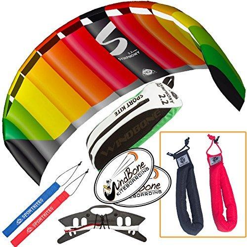 HQ Symphony Pro 2.2 Kite Rainbowバンドル( 3アイテム) +ピーターリンHeavy Dutyパッド入りKiteコントロールストラップハンドルペア+ WindBone Kiteboardingライフスタイルステッカー B01M0NH6EZ