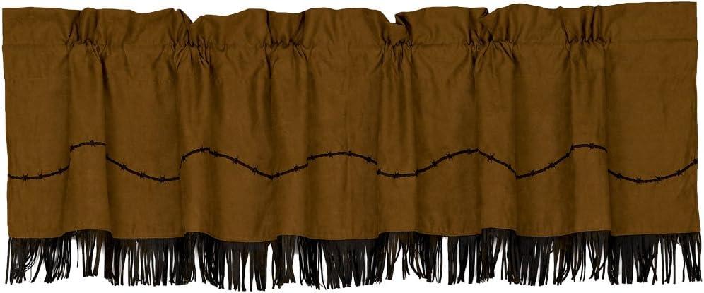 HiEnd Accents Fringed Barbwire Western Window Curtain Valance, 18 x 84 , Dark Tan Chocolate Brown