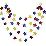 Mybbshower Star Garland 12 feet Carnival Party Decor Red Blue and Yellow