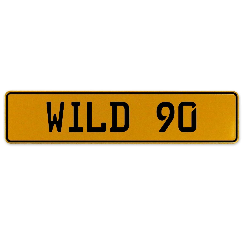 Vintage Parts 560925 Wild 90 Yellow Stamped Aluminum European Plate