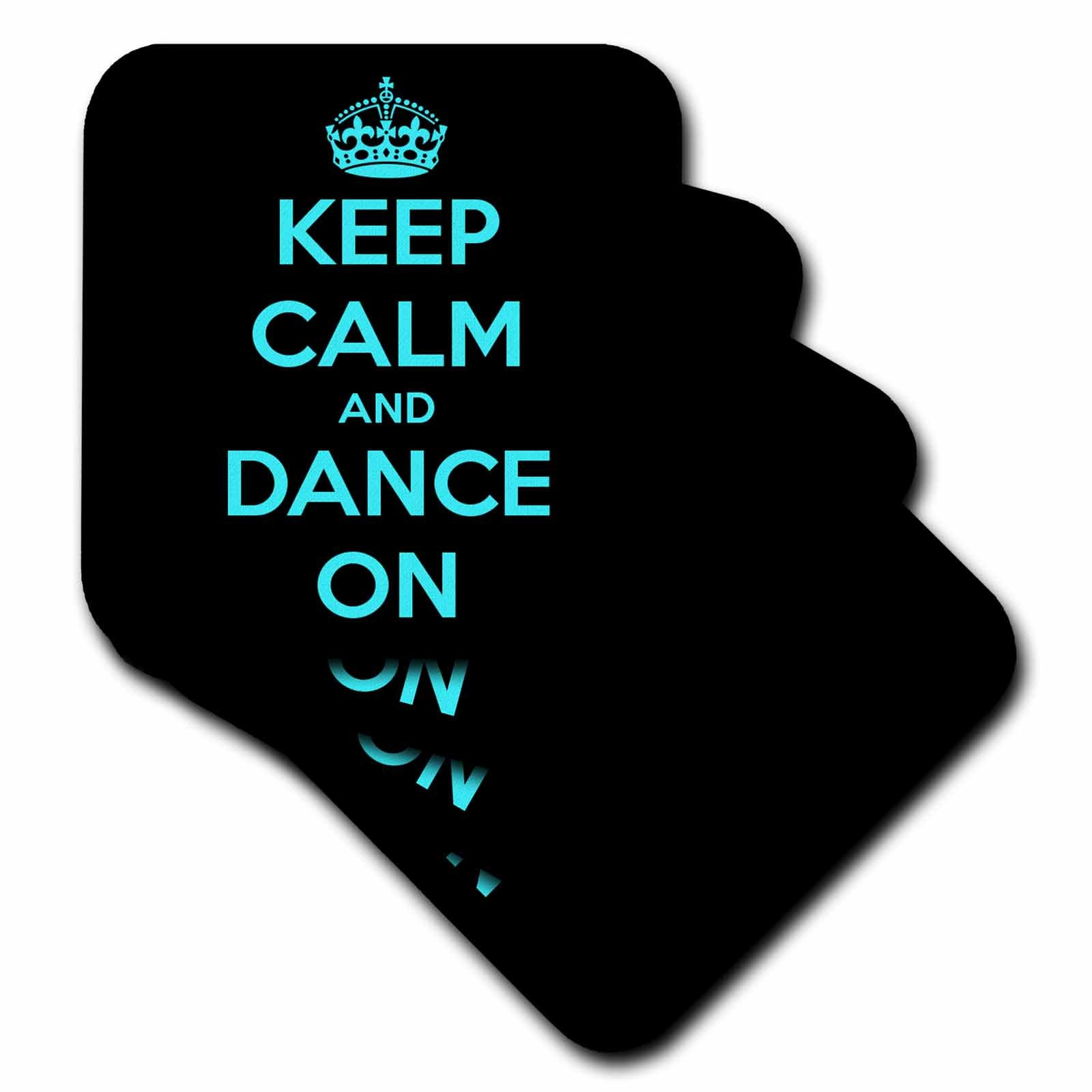3dRose cst_163926_3 Keep Calm and Dance On. Black and Turquoise-Ceramic Tile Coasters, Set of 4