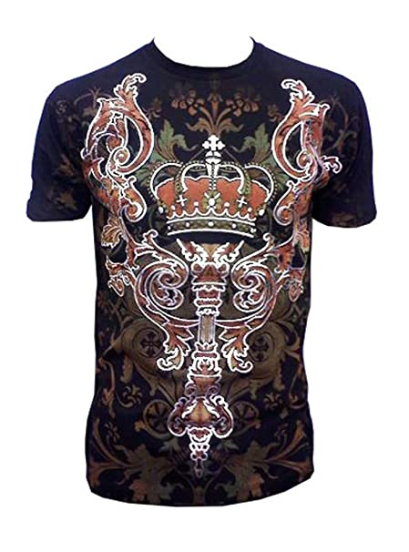 640aa4e26f5 Pinnacle Metallic Silver Embossed Crown Muscle T-shirt Black Silver ...