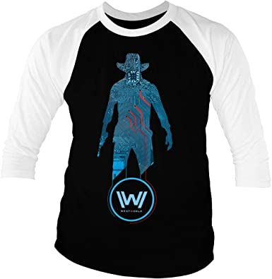 Westworld Licenciado Oficialmente Blue Circuit Cowboy Baseball Camisa de Manga 3/4 para Hombre (Negro-Blanco): Amazon.es: Ropa y accesorios