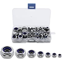 DXLing 208 Pieces Hex Lock Nuts with Nylon Insert Stainless Steel Hexagonal Nut 7 Size M3 - M12 Nylock Nuts Self Locking…