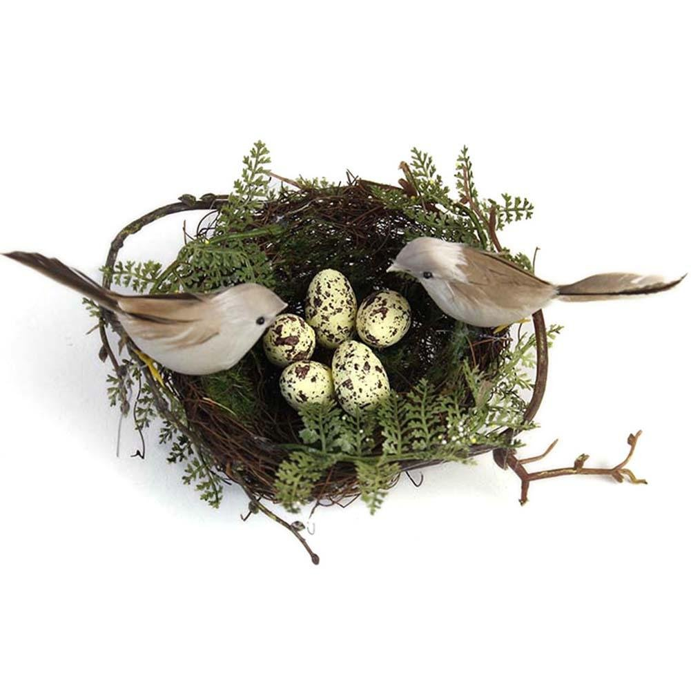 Artificial Birds Nest Simulation Bird Nest False Nest with Artificial Birds and Yellow Egg for Crafts Garden Home Decorations 13cm soundwinds