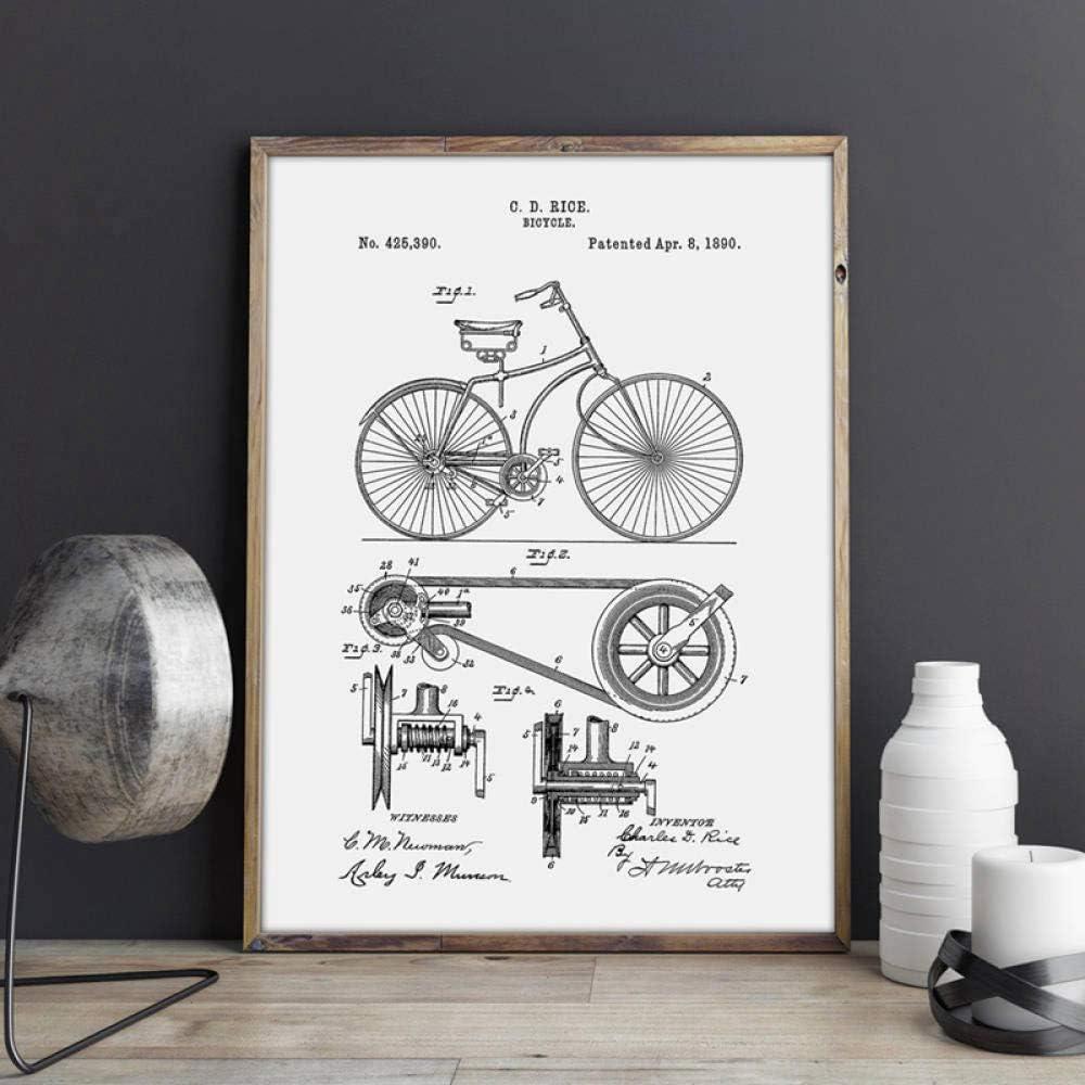 Impresiones de bicicletas Ciclismo Obra de arte Bicicleta Arte de la pared Pintura de la lona Carteles Decoración de la habitación Inicio Idea de regalo Decoración de la pared-13x18_cm_No_Frame_PH3466: Amazon.es: Hogar