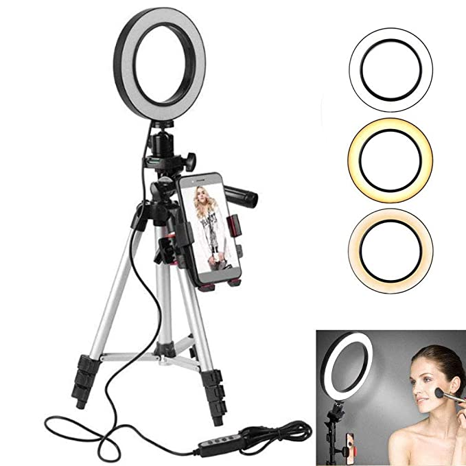 LAYOPO Selfie Ring Light,Dimmable Led Ring Light with Tripod Stand /& Cell Phone Holder for Live Stream//Makeup//YouTube Video//Photography,Phone Clip Compatible with iPhone 8 7 6 Plus X 6s SE