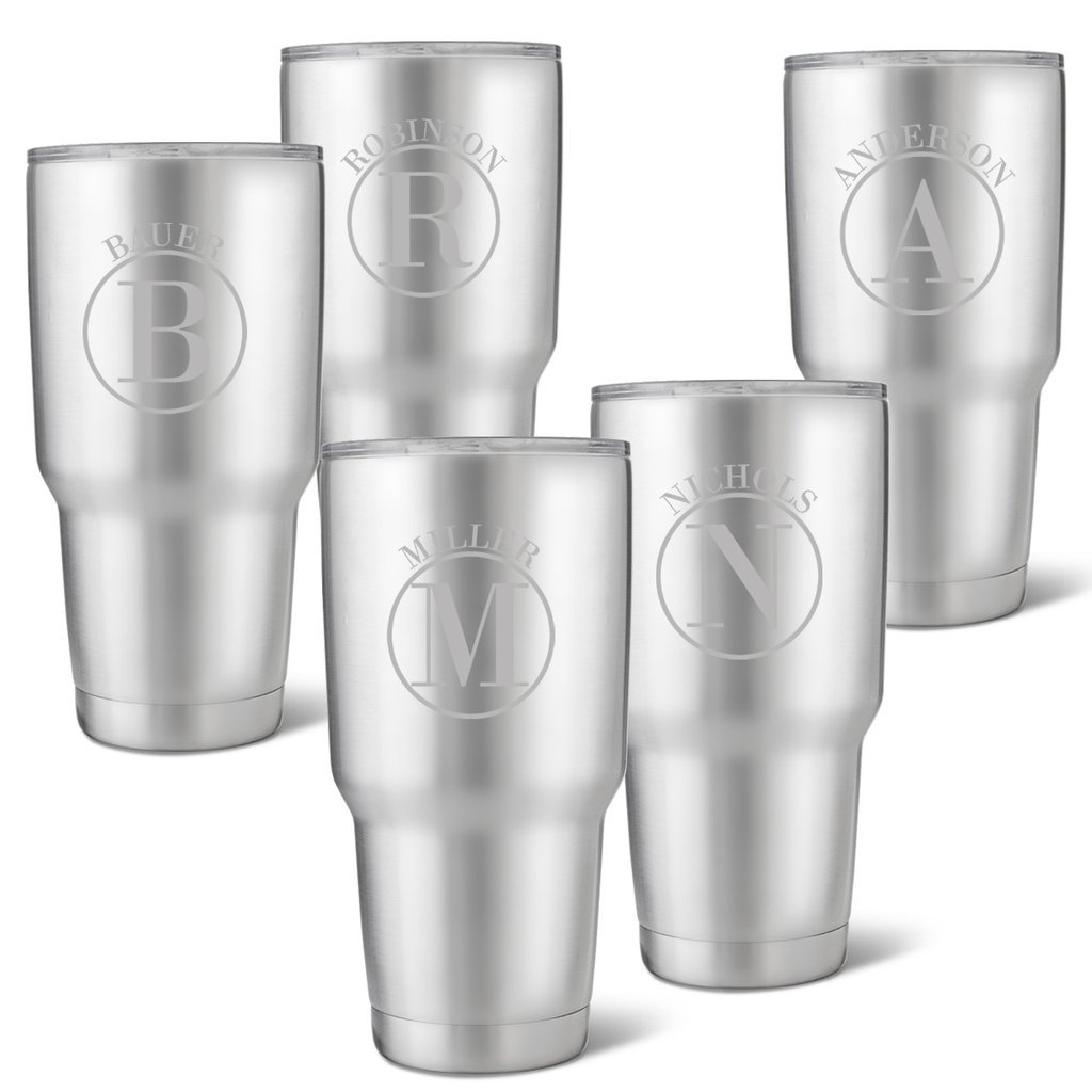 Set of 5 Húsavík 30 oz. Stainless Steel Double Wall Insulated Tumbler - Personalized Tumbler Circle Monogram Tumbler