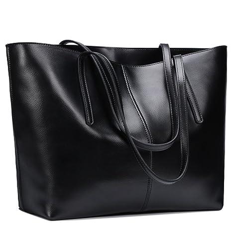 153df6cf52615 S-ZONE Damen einfach echtes Leder Henkeltasche elegant Handtasche  Schultertasche