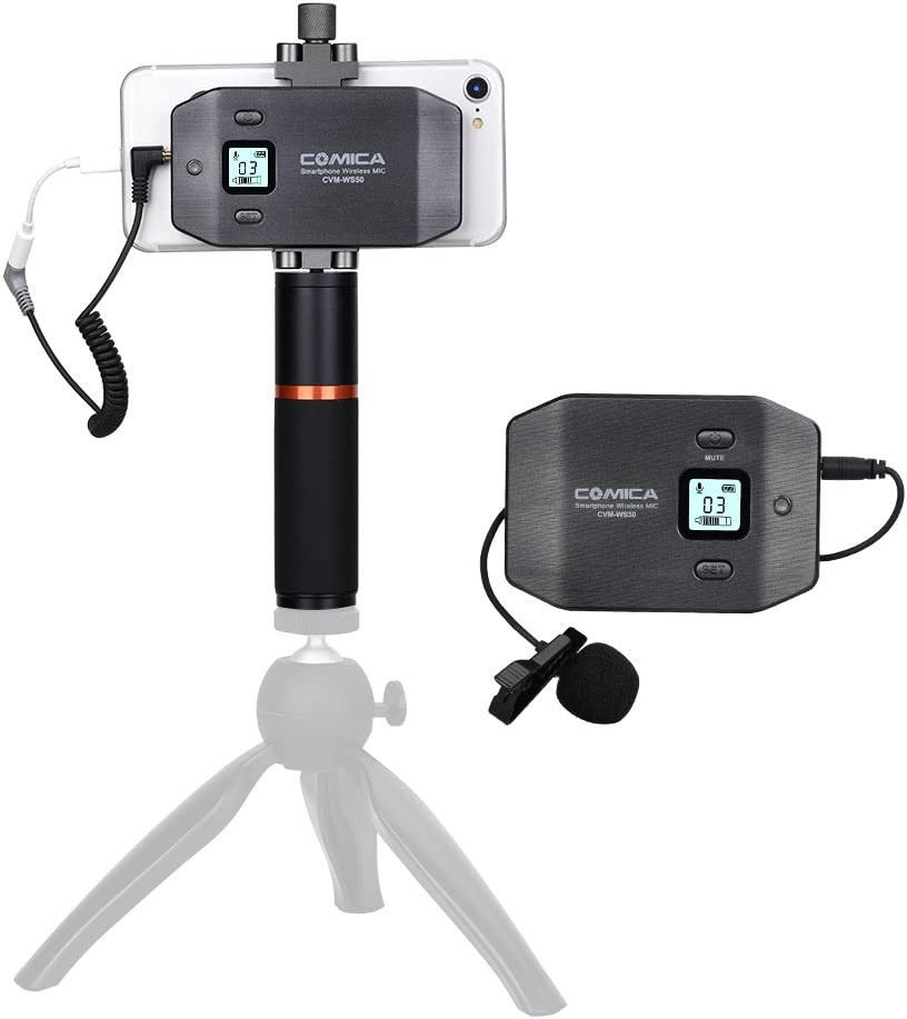 COMICA CVM-WS50 B Mobile Professional Lavalier Wireless System 6-Channels Smartphone clamp Wireless Microphone with Flexible Combination Electronic Remote Control and Tripod for Mobile//Live Video