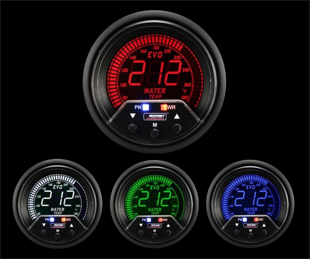 Water Temperature Gauge- Electrical Digital Green/white/red/blue Premium EVO Series 60mm (2 3/8