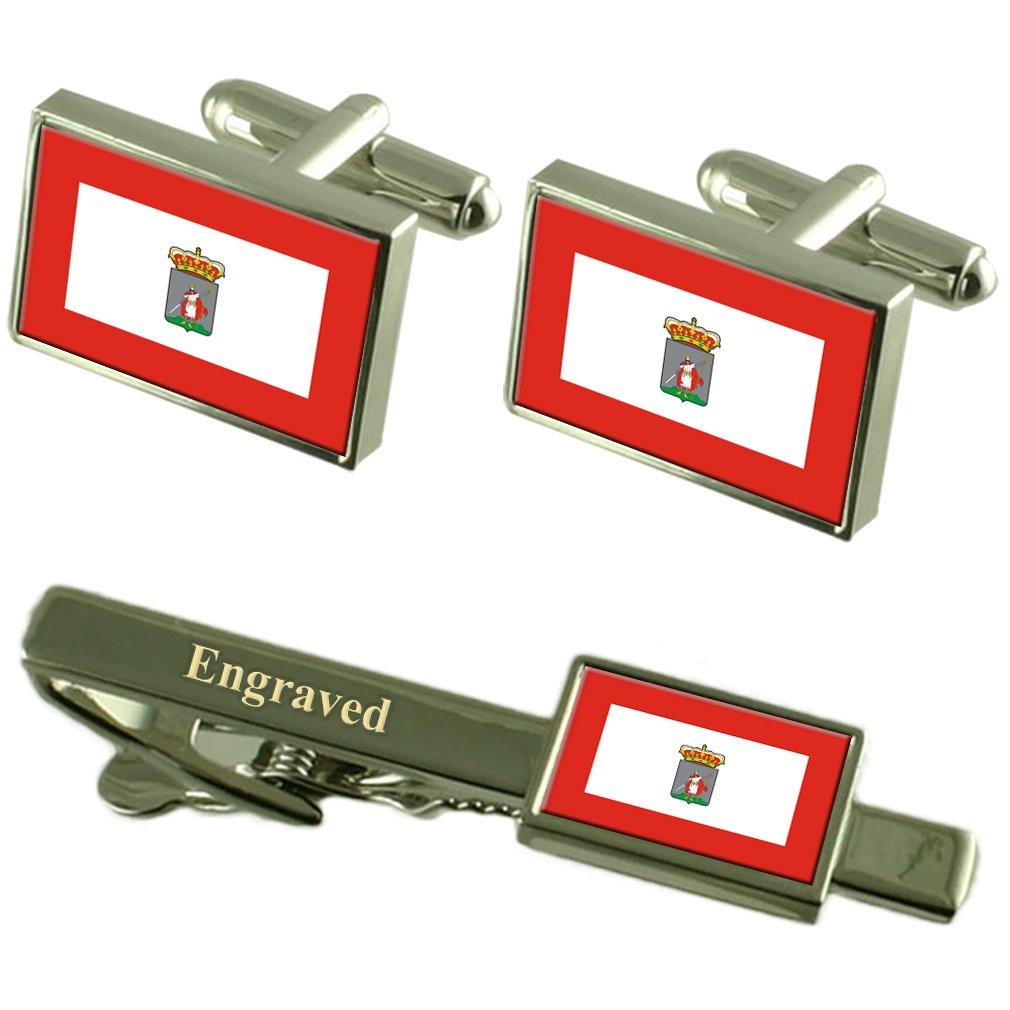 La Ciudad de Gijón, España Bandera Gemelos Grabado Set Clip de ...