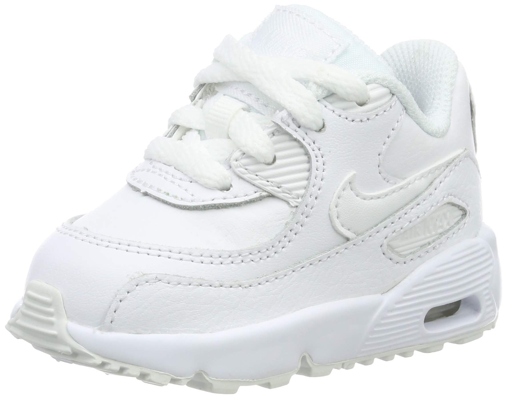 NIKE Boy's Air Max 90 Leather (TD) Shoes, White/White 6C