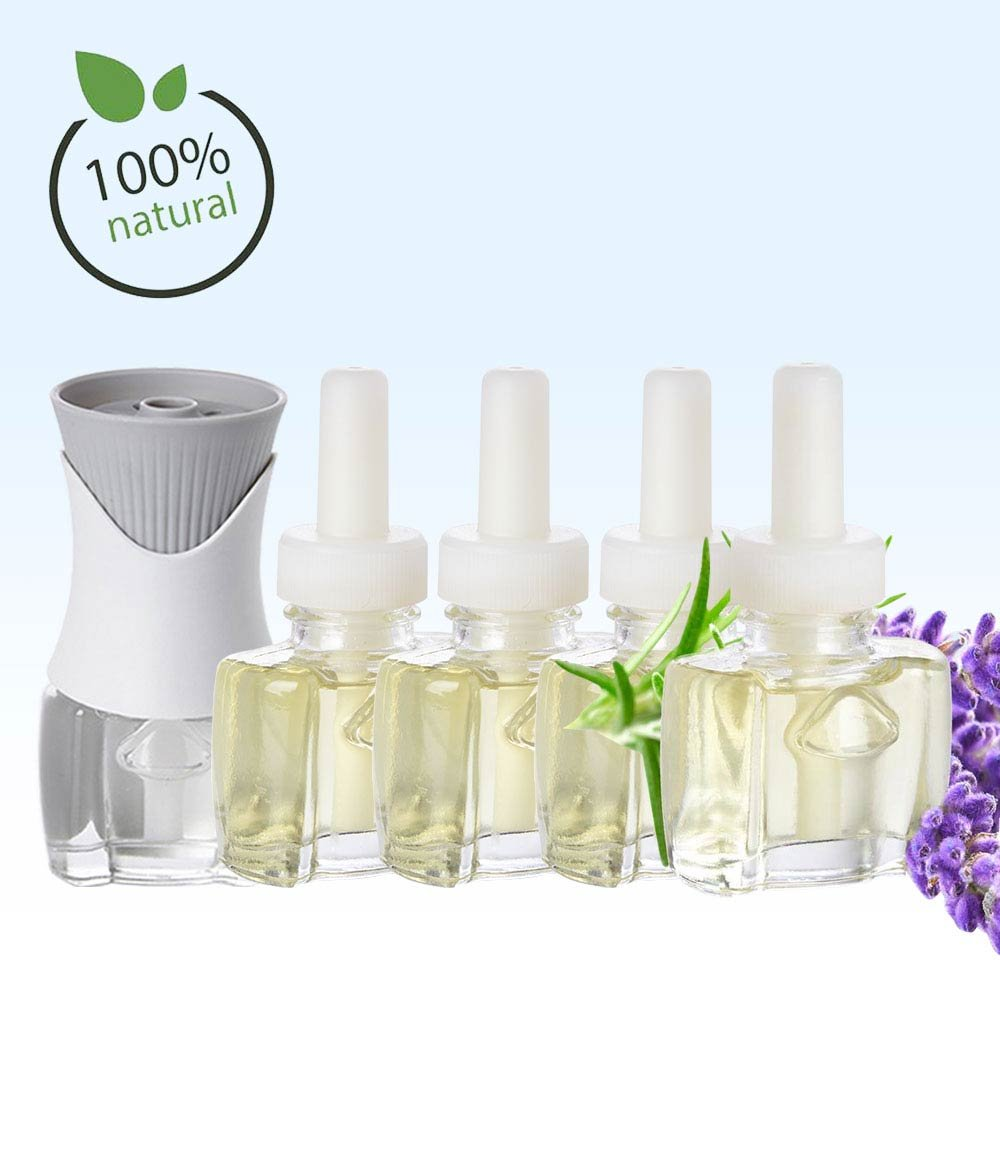 (4 Pack) 4 100% Natural Lavender Scent Fill® Brand plug in refills AND (1) Air Wick® PlugIn warmer