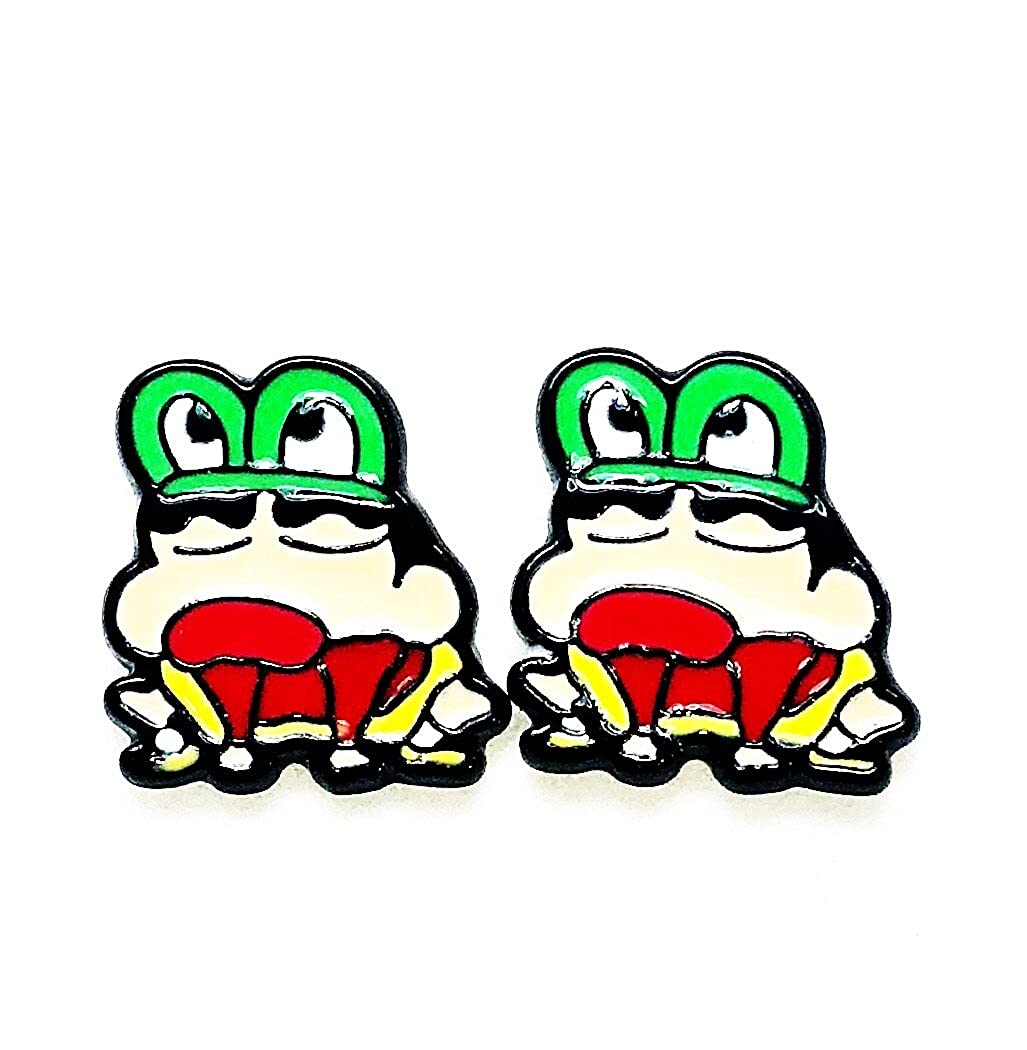Anime Magna Cartoon Crayon Shin Chan Frog Character Metal Enamel Stud Earrings Great Gift