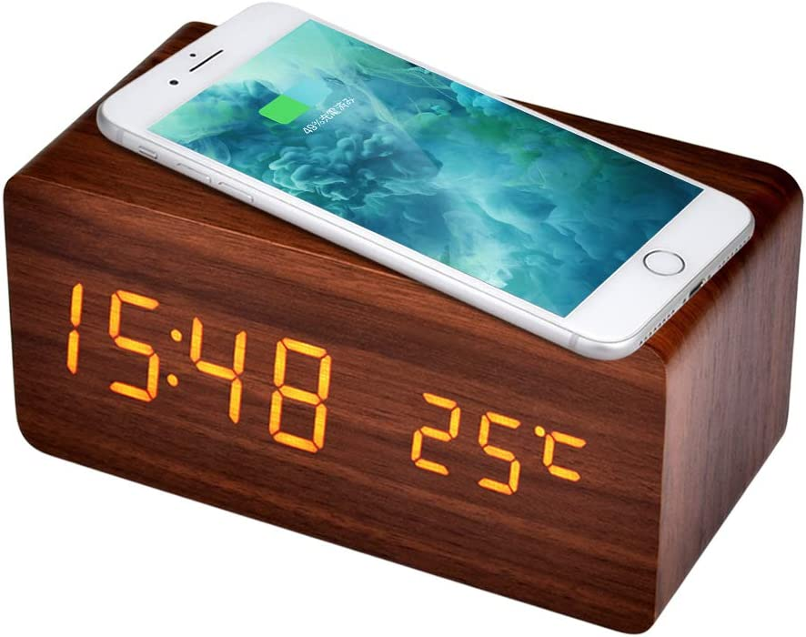AUSHEN 置き時計 ワイヤレス充電機能