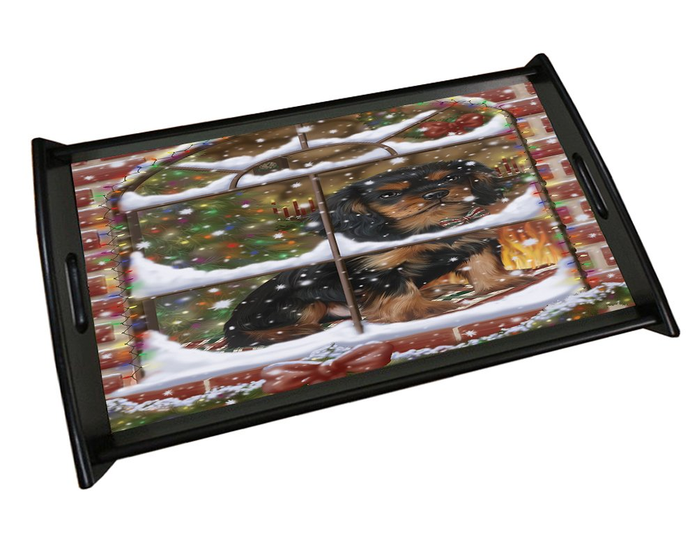 Please Come Home For Christmas Cavalier King Charles Spaniel Sitting In Window Black Wood Serving Tray