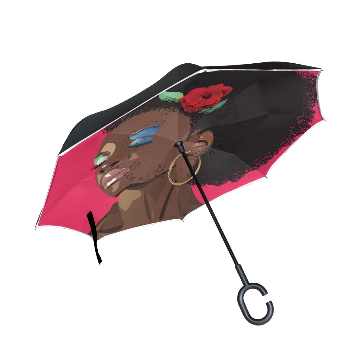 AIDEESS Afro Woman Double Layer Inverted Umbrellas Reverse Folding Umbrella Windproof UV Protection Big Straight Umbrella for Car Rain Outdoor With C-Shaped Handle B076Z9JQYY