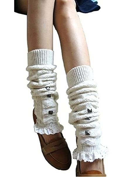 Jelinda Lady Mujer Remaches de encaje crochet Knit calentadores de piernas rodilla Leggings calcetines para botas Beige beige: Amazon.es: Ropa y accesorios