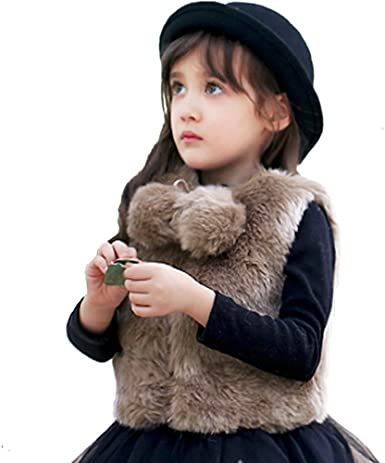 Little Girls  Faux Fur Hooded Puffer Coat with Sequin Collar