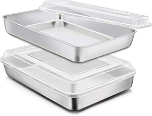 Stainless Steel Baking Pan with Lid, E-far 12? x 9¾ x 2 Inch Rectangle Sheet Cake Pans with Covers Bakeware for Cakes Brownies Casseroles, Non-toxic & Healthy, Heavy Duty & Dishwasher Safe - Set of 2