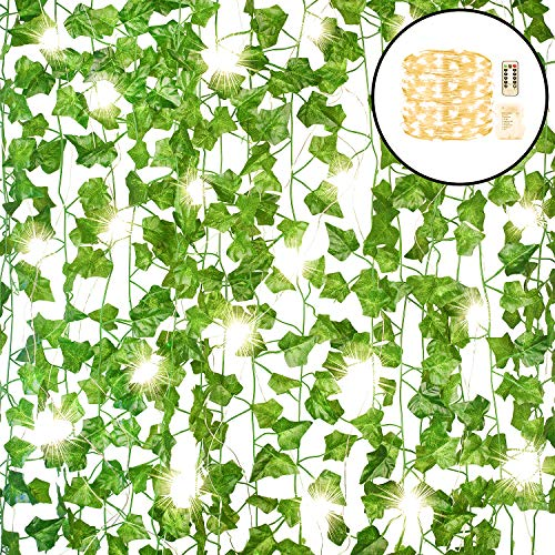 GPARK 12Pack / Each 82 inch Artificial Ivy Garland Fake Leaf Plants Vine with 100 LED (32ft) String Light Green Flowers Hanging for Wedding Party Home Garden Kitchen Office Outdoor Greenery Wall Decor
