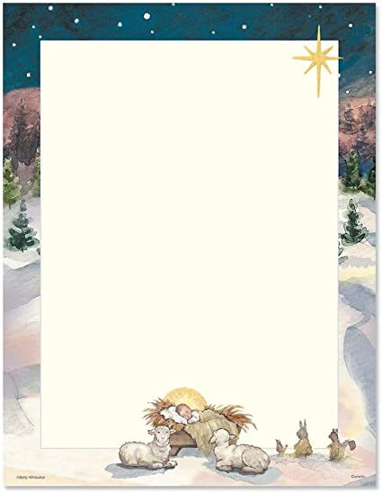 Nativity Holiday Christmas Letterhead Paper 80 Sheets