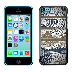 X-ray Impreso colorido protector duro espalda Funda piel de Shell para Apple iPhone 5C - Blue Text Clean Pretty Pattern