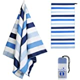 """Exclusivo Mezcla Large Microfiber Beach Towel, Sand Free Sports/Swimming/Pool Towel for Kids and Adults (Striped Blue, 30"""" x"""