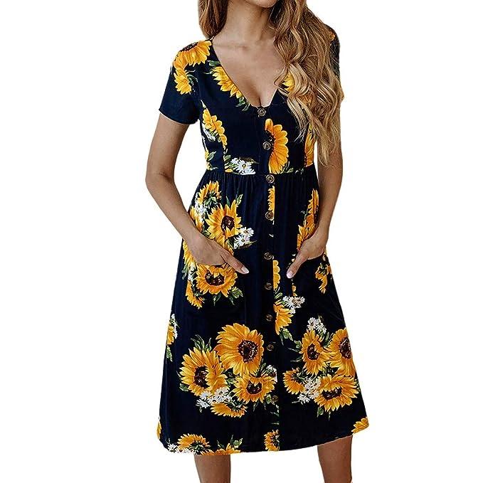 c65f15ab5a5f TiTCool Women's Summer Sunflower Printed Short Sleeve V Neck Swing Midi  Dress Pockets (S,